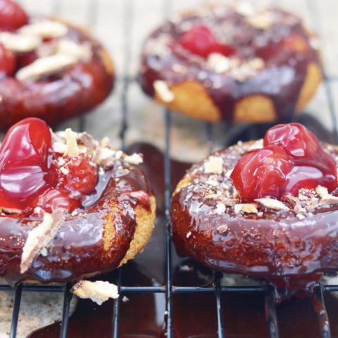 Chocolate-Cherry Drip Snickerdoodle Crunch Donuts